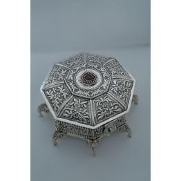 Antique Flower with Stone Hexagonal Mukhvas Box