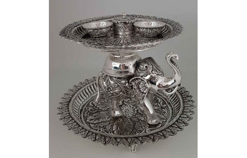 Antique Pooja Set with Elephant - Small
